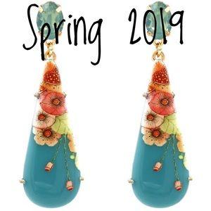 Flower and Crystal Dangling Earrings